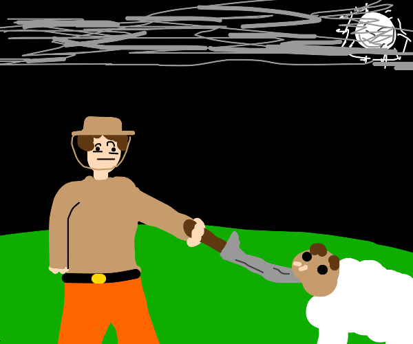 suspicious farmer about to slaughter sheep