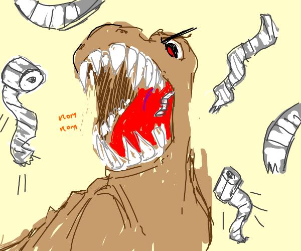 Dinosaur eating toilet paper