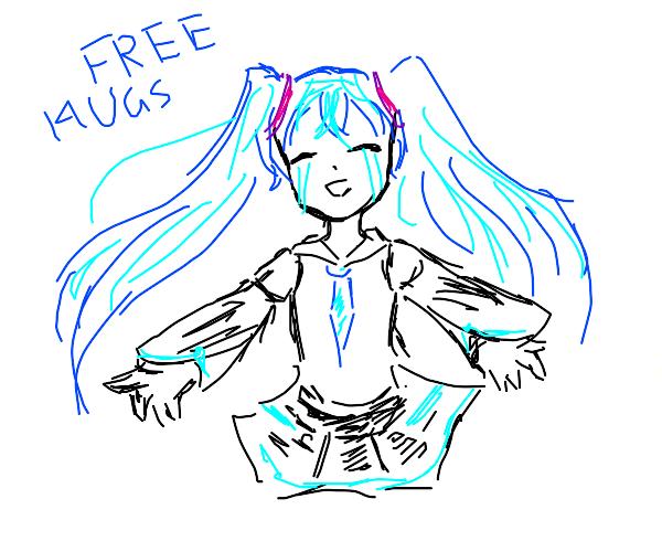Miku offers hugs