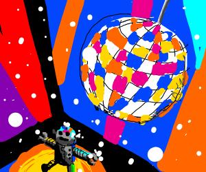 Robot dances under the disco ball