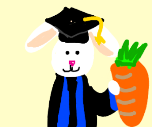 Rabbit with PhD is happy with carrot