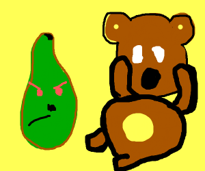 evil avacado next to a scared teddy