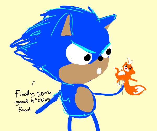 Sonic eating tails on a fork