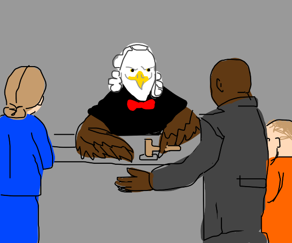 Eagle judges people while wearing bow tie