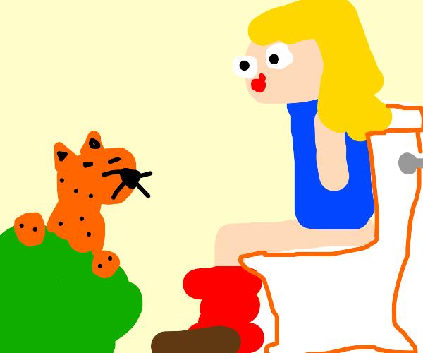 Cheetah/jaguar stalks girl on toilet