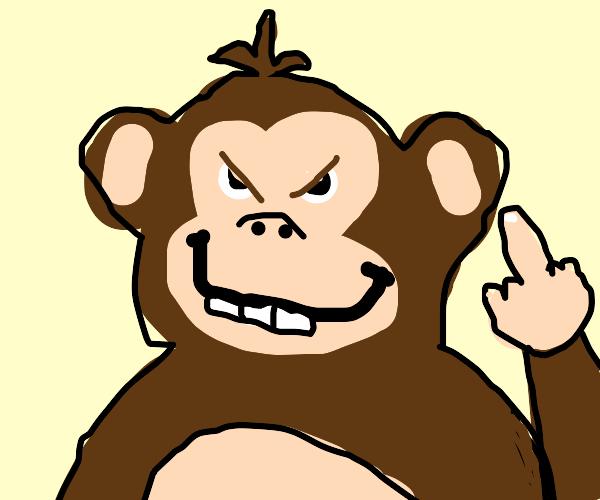 Crazy monkey flips you off.