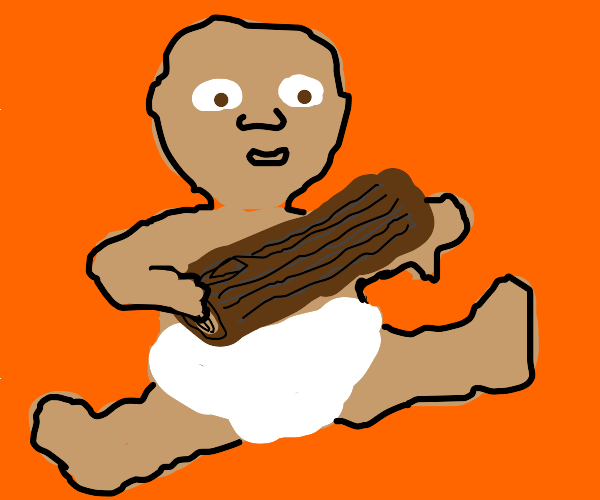 Baby holding a log