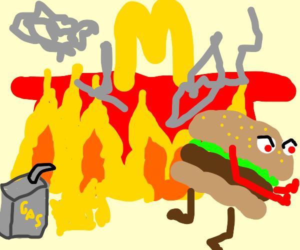 Hamburgerlar hates McDonald -sets fire