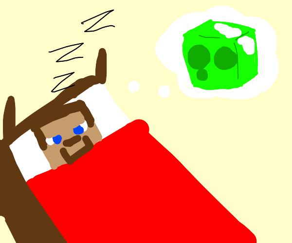 minecraft steve dreams of slime