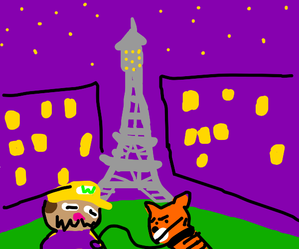 Wario at paris with his tiger slave