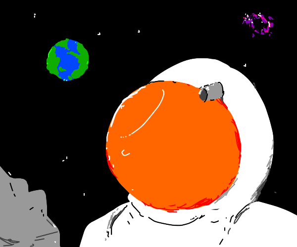 astronaut looking at earth from moon