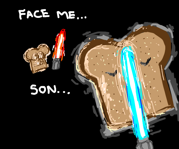 piece of bread learns how to become a jedi