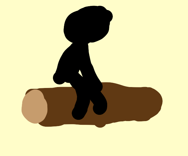 Dude resting on a log