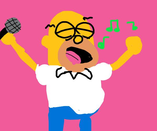 Homer Simpson singing