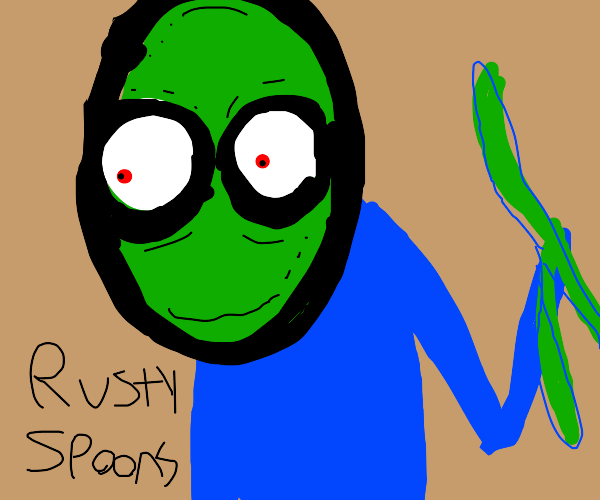 salad fingers and it says rusty spoons
