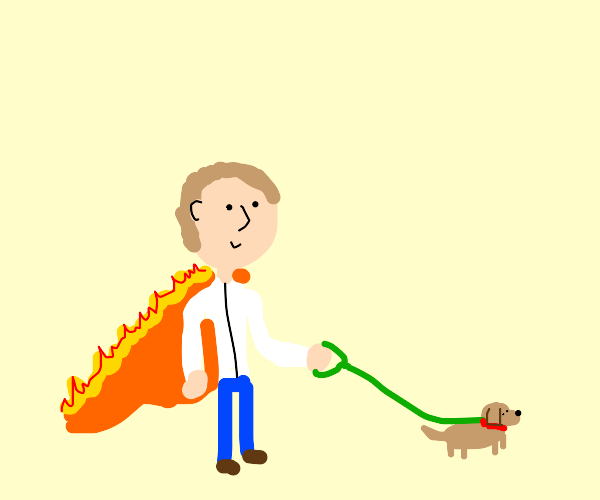 Guy walking dog with fire cape