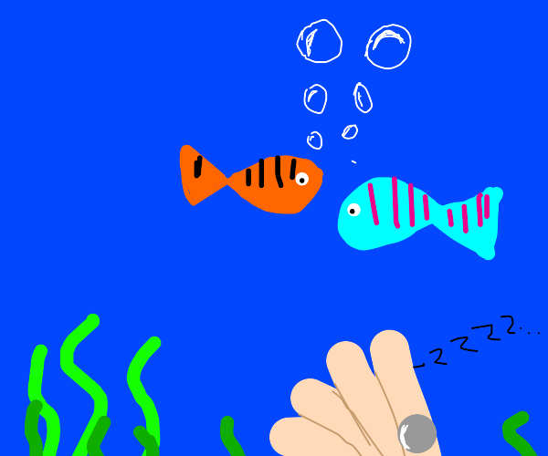The fish watch over a clam under the sea