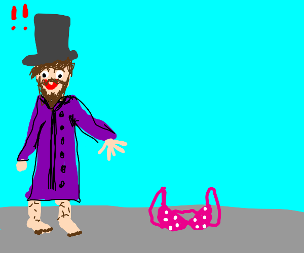 Creepy man in purple coat and hat sees a bra