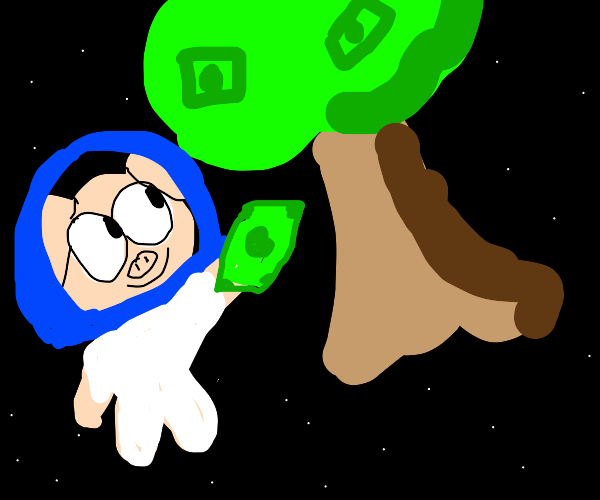 Space pig stealing tree money