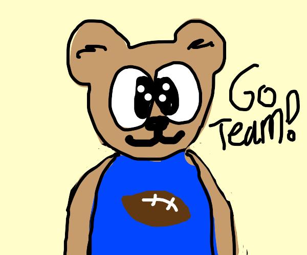 A football mascot (it's a bear)