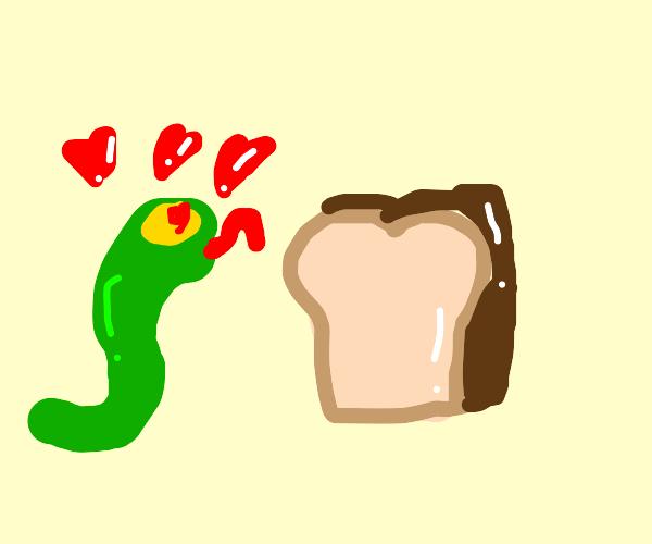 snake lusting over bread