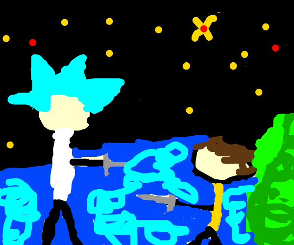 Rick and Morty jousting under the stars