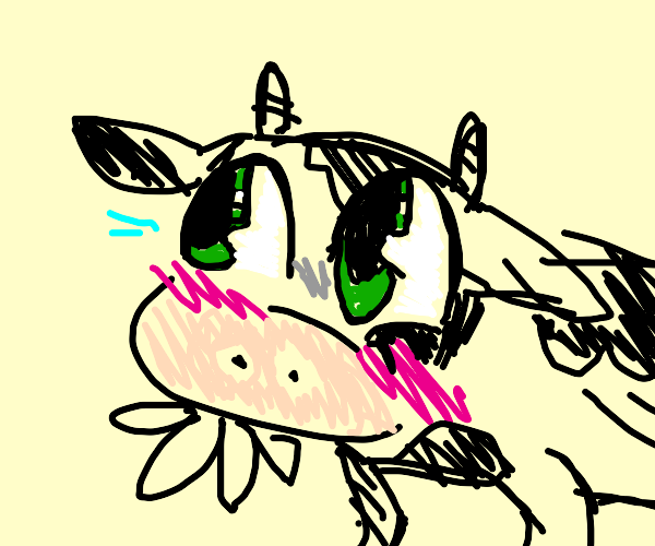 Cow with anime eyes