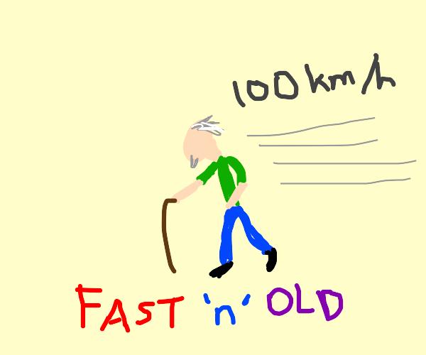 old man walks fast