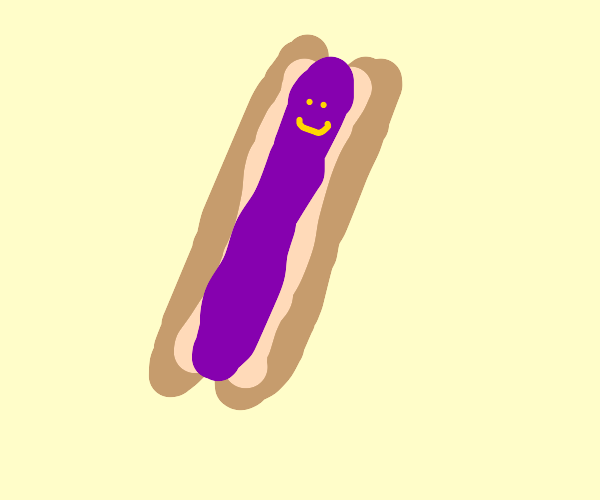 Purple hotdog with a face