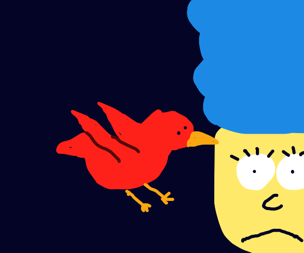 A redbird bullies Marge. That's just sad.