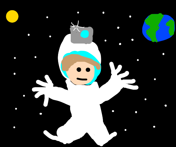 Spaceman with a camera on his helmet