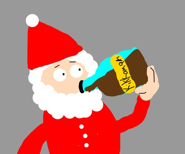 Santa chugging soy sauce