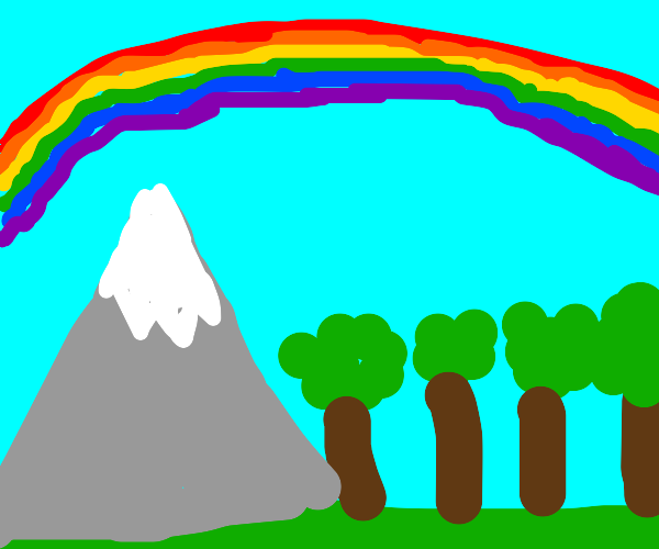 Rainbow above a forest with mountains