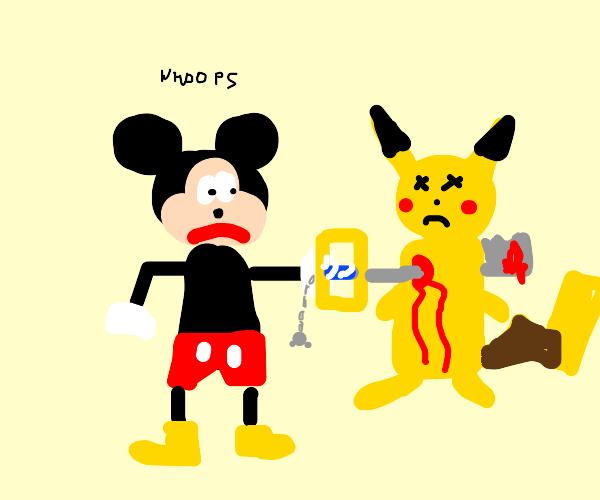 mickey accidentally impaled pikachu