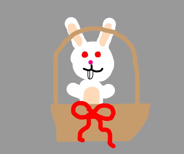 Redeyed White bunny in Basket with red Ribbon