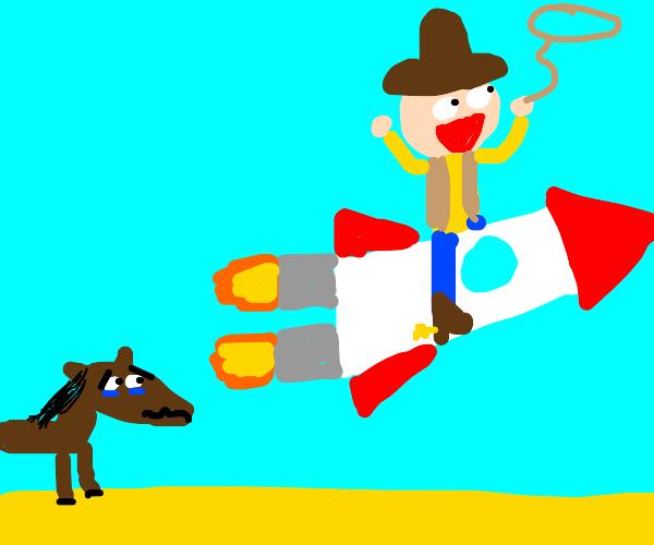 Cowboy rides rocket instead of horse