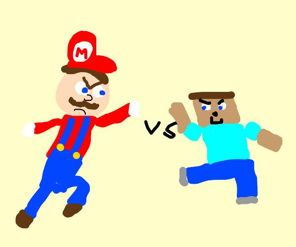mario vs minecraft