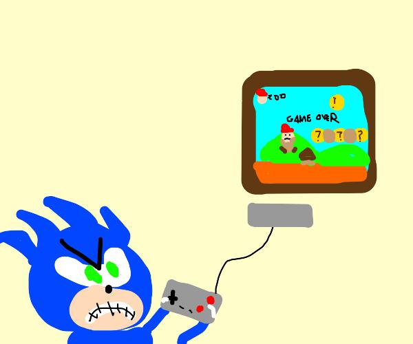 Sonic plays a platformer