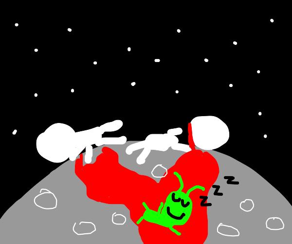 alien sleeps in the blood of two men on moon