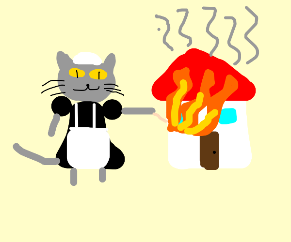 Arsonist Cat in a maid costume.