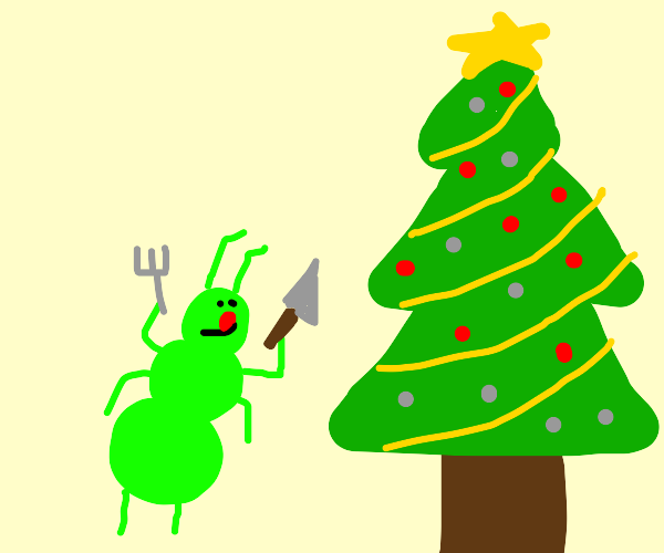 Green walking ant wants to eat christmas tree