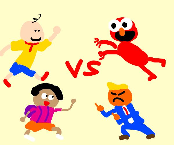 Caillou and Dora vs Elmo and Donald Trump