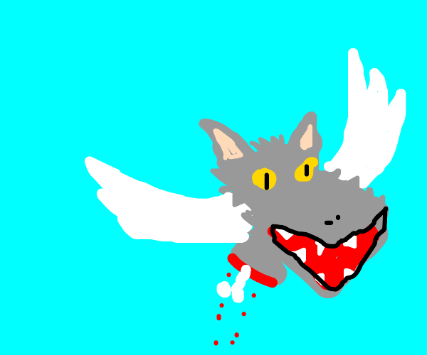 Flying disembodied wolf head
