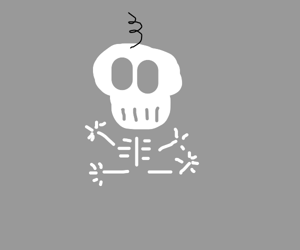 skeleton baby with one strand of hair