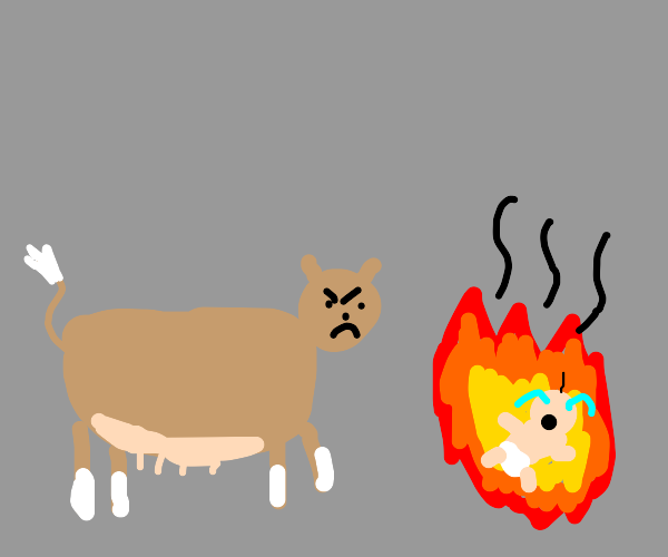 Apple cow burns a baby alive