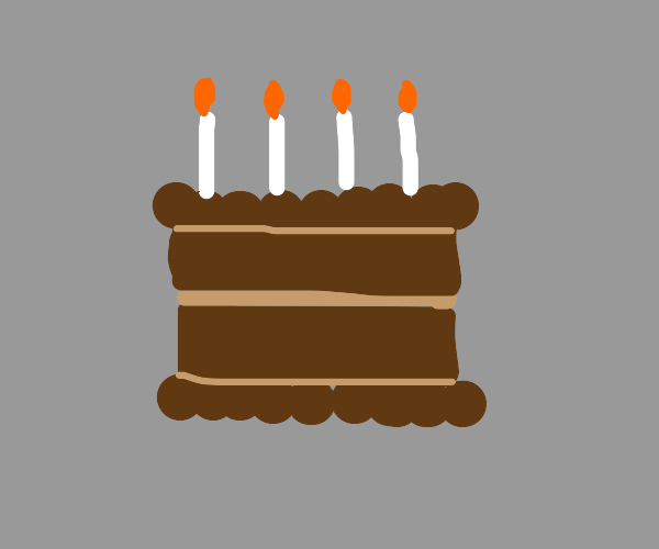 Chocolate Birthday cake with 4 candles