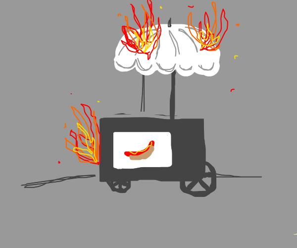 Hot dog stand burns down