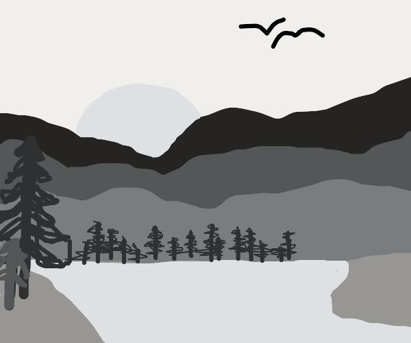 Beautiful grey lake landscape