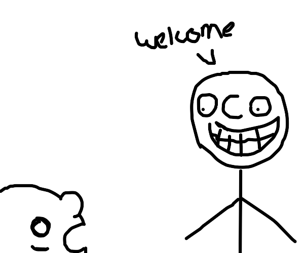 creepy guy says .welcome. to scared guy