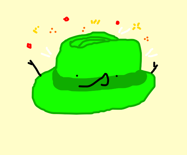green hat shooting sparkles